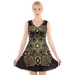 Luxury Golden Mandala Background V-neck Sleeveless Dress