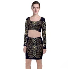 Luxury Golden Mandala Background Top And Skirt Sets
