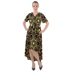 Luxury Golden Mandala Background Front Wrap High Low Dress