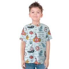 Cartoon Nautical Seamless Background Kids  Cotton Tee