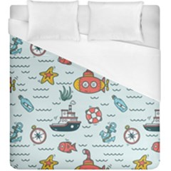 Cartoon Nautical Seamless Background Duvet Cover (king Size)