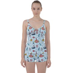 Cartoon Nautical Seamless Background Tie Front Two Piece Tankini