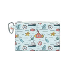 Cartoon Nautical Seamless Background Canvas Cosmetic Bag (small) by Wegoenart