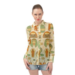 Egypt Seamless Pattern Long Sleeve Chiffon Shirt