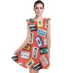 Vintage Retro Cassette Tape Pattern Design Template Tie Up Tunic Dress