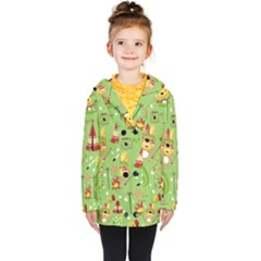Cartoon Animals Indian Tribes Seamless Pattern Vector Kids  Double Breasted Button Coat