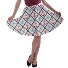 Seamless Pattern With Cross Lines Steering Wheel Anchor A-line Skater Skirt