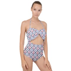 Seamless Pattern With Cross Lines Steering Wheel Anchor Scallop Top Cut Out Swimsuit by Wegoenart