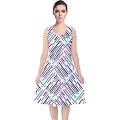 Abstract Colorful Pattern Background V Neck Midi Sleeveless Dress