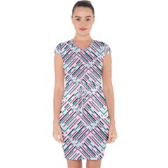 Abstract Colorful Pattern Background Capsleeve Drawstring Dress