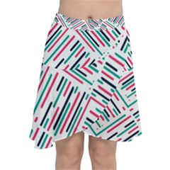 Abstract Colorful Pattern Background Chiffon Wrap Front Skirt