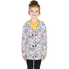 Abstract Colorful Pattern Background Kids  Double Breasted Button Coat