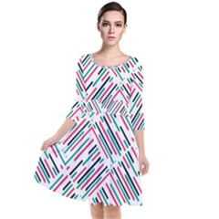 Abstract Colorful Pattern Background Quarter Sleeve Waist Band Dress