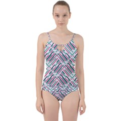 Abstract Colorful Pattern Background Cut Out Top Tankini Set