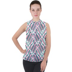 Abstract Colorful Pattern Background Mock Neck Chiffon Sleeveless Top