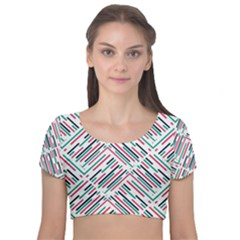 Abstract Colorful Pattern Background Velvet Short Sleeve Crop Top