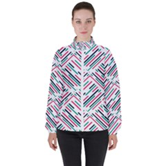 Abstract Colorful Pattern Background Women s High Neck Windbreaker