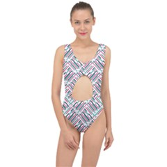 Abstract Colorful Pattern Background Center Cut Out Swimsuit by Wegoenart