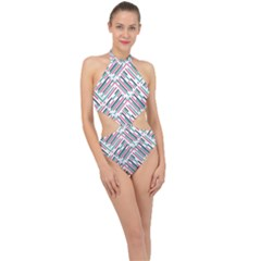 Abstract Colorful Pattern Background Halter Side Cut Swimsuit