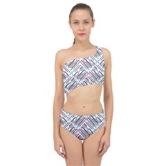 Abstract Colorful Pattern Background Spliced Up Two Piece Swimsuit