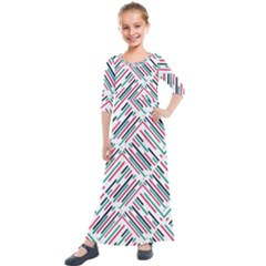 Abstract Colorful Pattern Background Kids  Quarter Sleeve Maxi Dress