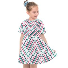 Abstract Colorful Pattern Background Kids  Sailor Dress