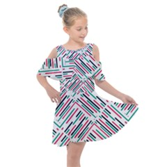 Abstract Colorful Pattern Background Kids  Shoulder Cutout Chiffon Dress