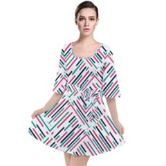 Abstract Colorful Pattern Background Velour Kimono Dress