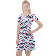Abstract Colorful Pattern Background Cap Sleeve Velour Dress