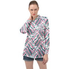 Abstract Colorful Pattern Background Long Sleeve Satin Shirt