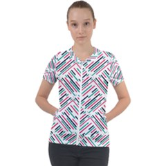 Abstract Colorful Pattern Background Short Sleeve Zip Up Jacket