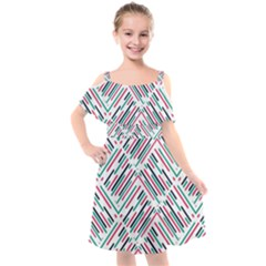 Abstract Colorful Pattern Background Kids  Cut Out Shoulders Chiffon Dress