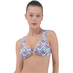 Abstract Colorful Pattern Background Ring Detail Bikini Top