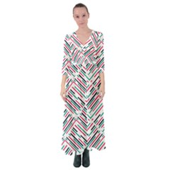 Abstract Colorful Pattern Background Button Up Maxi Dress