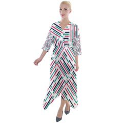 Abstract Colorful Pattern Background Quarter Sleeve Wrap Front Maxi Dress