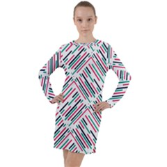 Abstract Colorful Pattern Background Long Sleeve Hoodie Dress