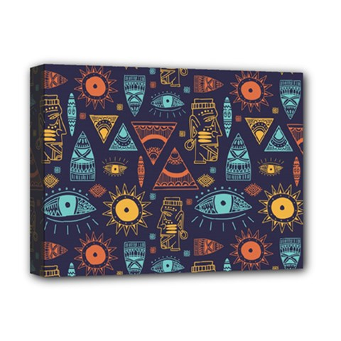 Trendy African Maya Seamless Pattern With Doodle Hand Drawn Ancient Objects Deluxe Canvas 16  X 12  (stretched)