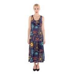 Trendy African Maya Seamless Pattern With Doodle Hand Drawn Ancient Objects Sleeveless Maxi Dress