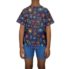 Trendy African Maya Seamless Pattern With Doodle Hand Drawn Ancient Objects Kids  Short Sleeve Swimwear