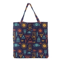 Trendy African Maya Seamless Pattern With Doodle Hand Drawn Ancient Objects Grocery Tote Bag