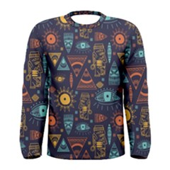 Trendy African Maya Seamless Pattern With Doodle Hand Drawn Ancient Objects Men s Long Sleeve Tee