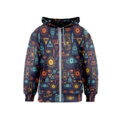 Trendy African Maya Seamless Pattern With Doodle Hand Drawn Ancient Objects Kids  Zipper Hoodie