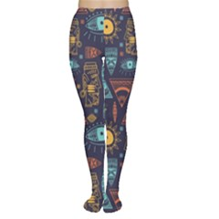 Trendy African Maya Seamless Pattern With Doodle Hand Drawn Ancient Objects Tights
