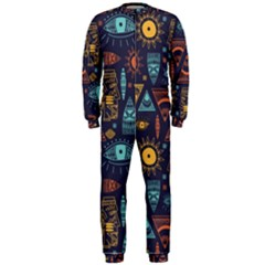 Trendy African Maya Seamless Pattern With Doodle Hand Drawn Ancient Objects Onepiece Jumpsuit (men)