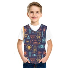 Trendy African Maya Seamless Pattern With Doodle Hand Drawn Ancient Objects Kids  Sportswear