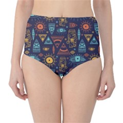 Trendy African Maya Seamless Pattern With Doodle Hand Drawn Ancient Objects Classic High Waist Bikini Bottoms