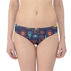 Trendy African Maya Seamless Pattern With Doodle Hand Drawn Ancient Objects Hipster Bikini Bottoms