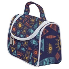 Trendy African Maya Seamless Pattern With Doodle Hand Drawn Ancient Objects Satchel Handbag