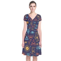 Trendy African Maya Seamless Pattern With Doodle Hand Drawn Ancient Objects Short Sleeve Front Wrap Dress