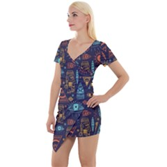 Trendy African Maya Seamless Pattern With Doodle Hand Drawn Ancient Objects Short Sleeve Asymmetric Mini Dress